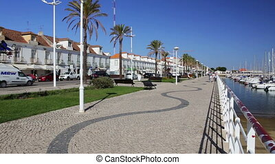 Lively streets of the town Vila Real Santo Antonio....