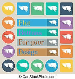 Liver icon sign. Set of twenty colored flat, round, square and rectangular buttons. Vector