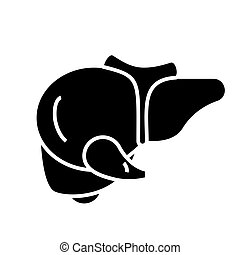 liver icon, vector illustration, black sign on isolated background