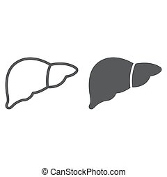 Liver line and glyph icon, anatomy and biology, hepatology sign, vector graphics, a linear pattern on a white background, eps 10.