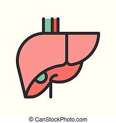 liver simple filled outline icon, medical and organ set