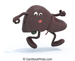 liver with arms and legs running, 3d illustration