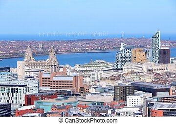Liverpool - city in Merseyside county of North West England (UK). Aerial view with downtown and famous Pier Head UNESCO World Heritage Site.