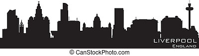Liverpool, England skyline. Detailed vector silhouette
