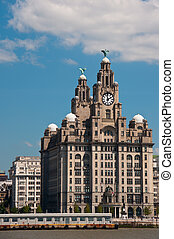 Exterior view of the famous landsmark on the waterfront in Liverpool, England