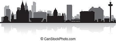 liverpool, orizzonte, città, silhouette