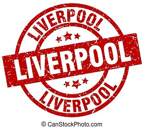 Liverpool red round grunge stamp