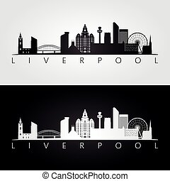 Liverpool skyline and landmarks silhouette, black and white...