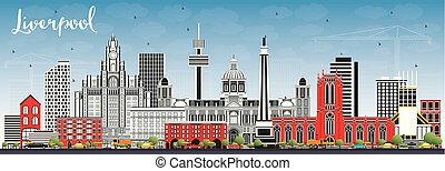 Liverpool Skyline with Color Buildings and Blue Sky.