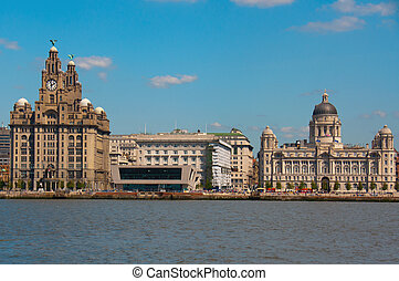 "Waterfront at Liverpool, England, showing the ""three graces"" - Liver, Cunard and Port buildings"