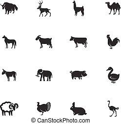 livestock and farm animals icons set