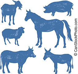 Livestock, farm animals vector silhouettes