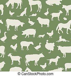 Livestock seamless pattern. Farm animals background. Farm animals silhouette vector set.