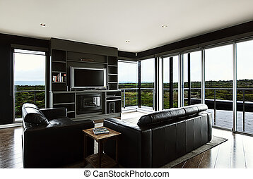 Living Area - A modern home living area with a beautiful ...