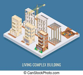 Living complex building vector flat isometric poster, banner