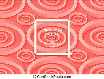 Living coral trendy background with impossible shapes. Template for banners, cards, flyers or brochures