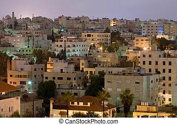 living district Amman city at night, Jordan