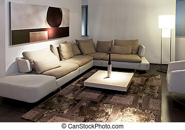Gray living room with big sitting area