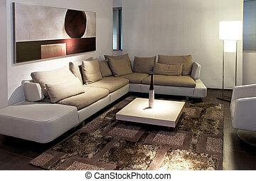Living gray angle - Gray living room with big sitting area