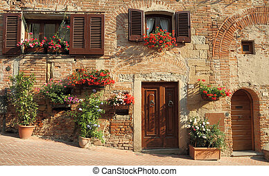 typical italian nook in tuscan village, Certaldo, Italy