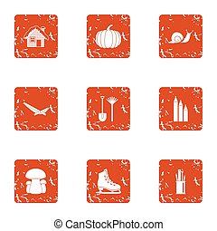 Living organism icons set. Grunge set of 9 living organism icons for web isolated on white background