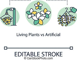 Living plants vs artificial concept icon. Pros and cons. Real and faux houseplants idea thin line illustration. Vector isolated outline RGB color drawing. Editable stroke