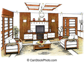 An artist's simple sketch of an interior design of a living room (design and sketch by submitter)