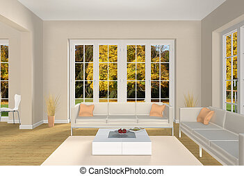 living room and autumn park
