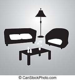 living room black and white eps10
