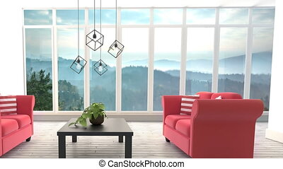 Living Room Canvas Video - Animated Living room against ...