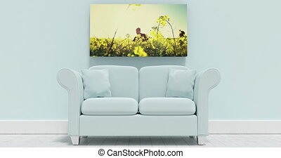 Living Room Canvas Video - Animated living room with nature ...