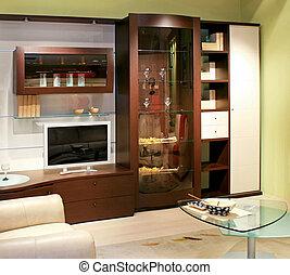 Living room closet - Big brown wood closet in living room