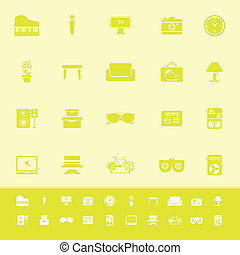 Living room color icons on yellow background