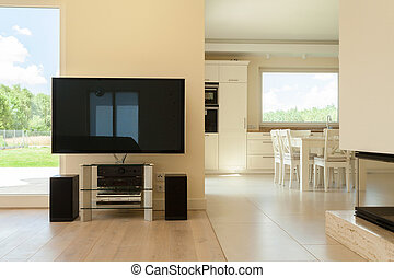 View of living room combined with dining space