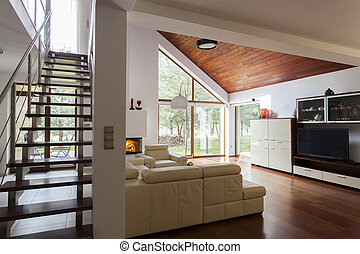 Living room - Contemporary living room and wooden stairs