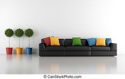 Living room - Contemporary living room with black sofa and...
