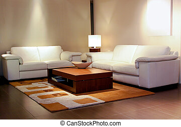 Tidy living room space with white leather furniture