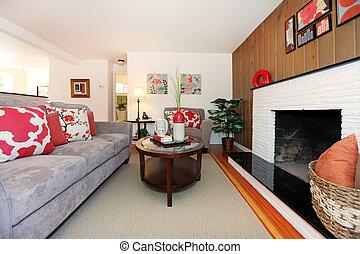 Living room cozy beautiful interior design.
