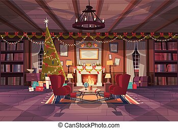 Living Room Decorated For Christmas And New Year, Empty Armchairs Near Pine Tree And Fireplace, Home Interior Decoration Winter Holidays Concept