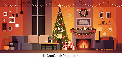 Living Room Decorated For Christmas And New Year With Fir Tree , Fireplace And Garlands Holidays Home Interior