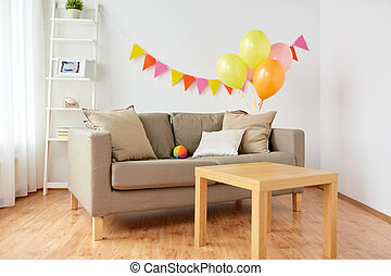 living room decorated for home birthday party