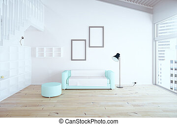 Living room interior design with blue sofa, blank picture frames, shelves and white walls. 3D Render