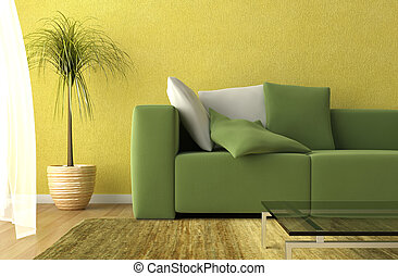 3d render detail of a modern living room