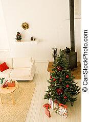 Living room during the Christmas season