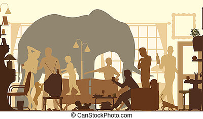 Living room elephant - Editable vector silhouettes of an...