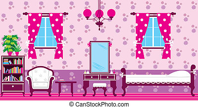 Living room - Image of interior bedroom with a bed and a...