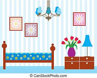 Living room - Vector illustration, color full