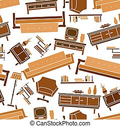 Living room flat furnitures seamless pattern - Interior of...