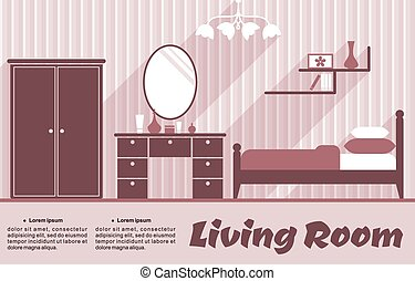 Living room flat interior in pink and red colours for...