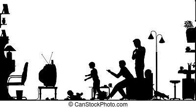 Foreground silhouette of a family in a living room with all elements as separate editable objects